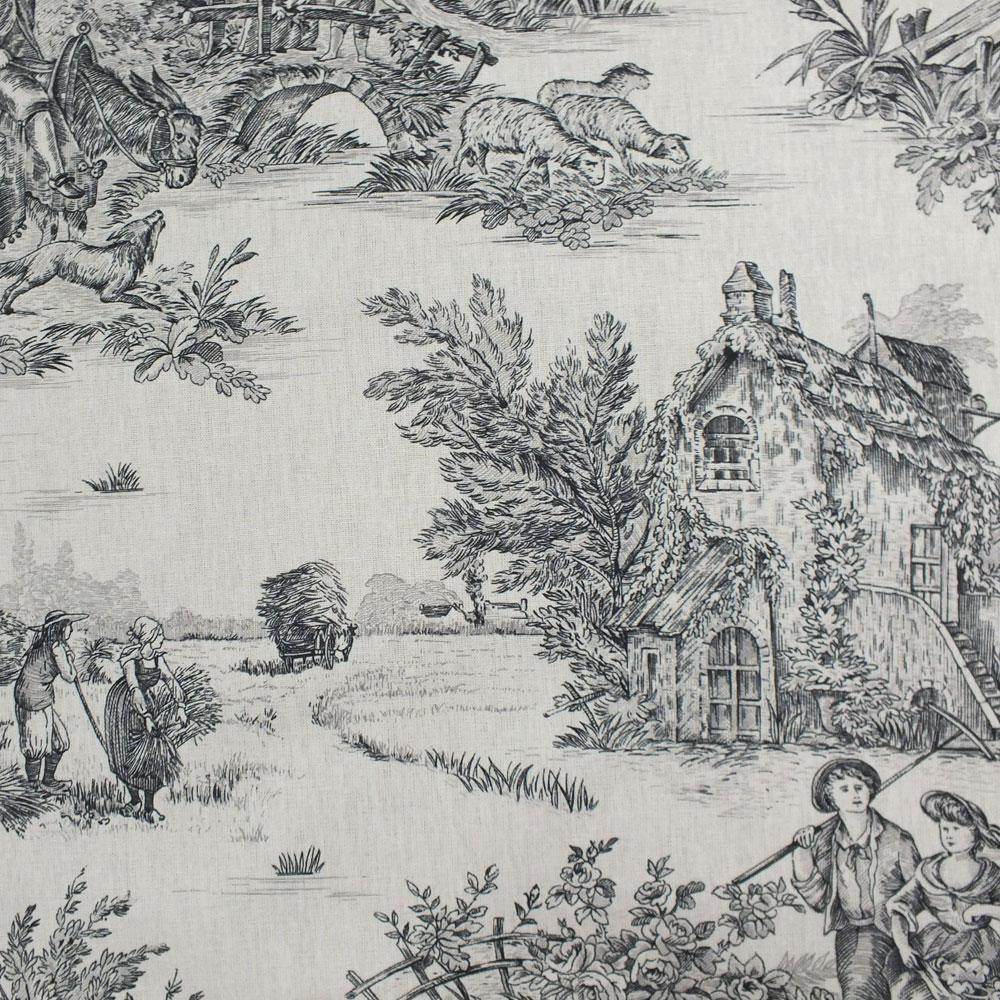 tischdecke toile de jouy pastorale bachette beige schwarz. Black Bedroom Furniture Sets. Home Design Ideas