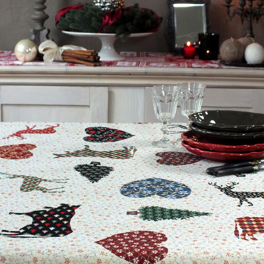 weihnachtstischdecke gobelin stoff im. Black Bedroom Furniture Sets. Home Design Ideas