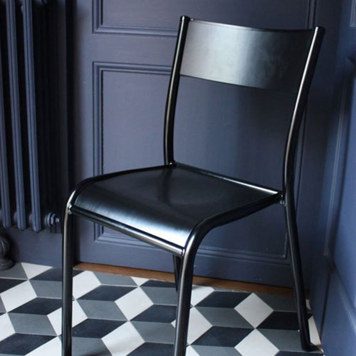Original Stuhl La Chaise 510 Farbe Schwarz Made in France